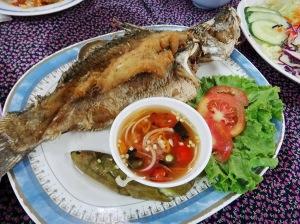 ปลากระพงขาวทอดน้ำปลา น้ำปลาที่ให้มารสงั้นๆ ชอบน้ำจิ้มกุ้งเผาที่วางให้ไวะประจำตัวมากกว่า (ในรูปนี่สั่งตัวเล็กไป 380 ค่อนข้างแพงแฮะ)