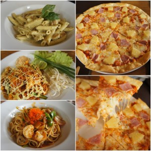 อร่อยดีทุกอย่าง  คอนเน่ไก่-รสแบบอาหารอิตาเลี่ยนทั่วไป  ผัดไท-หอมอร่อยรสกลมกล่อม สังเกตุได้ว่ามีกลิ่นประมาณซอสมะเขือเทศปนอยู่  สปาเกตตี้ขี้เมา-รสชาติดีไม่เผ็ดหวานพริกเผาทีเด็ดที่รสเปรี้ยวจี๊ดของมะนาว  พิซซ่า-อร่อยแบบพิซซ่าเตาถ่านทั่วไป รวมาคาแปดร้อยกว่าบาท อร่อยครับ คุ้มค่ารึเปล่าอีกเรื่องนึง 555