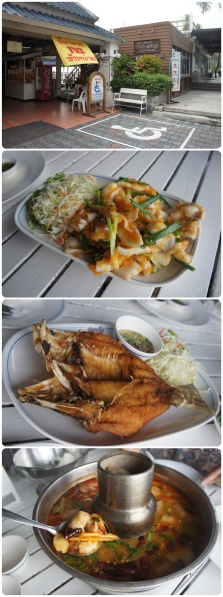 ร้านปะการัง ปลาหมึกผัดไข่เค็ม อร่อยมาก ไข่เค็มบดเข้าทุกส่วนของปลาหมึก 180.- ปลากะพงทอดน้ำปลา ทอดนานไปหน่อย เนื้อแห้ง 350.- ต้มยำกุ้ง น้ำอร่อย แต่กุ้งตัวเล็กมาก ประหนึ่งร้านตึกแถว 250.-