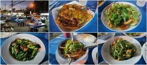 มื้อเย็น (ไปทางค่ำหน่อย) กินกันในเมืองเชียงแสน เป็นร้านข้างทางธรรมดา ที่มีอาหารให้เลือกเยอะพอสมควร